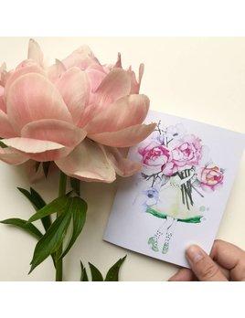 Katrinn Pelletier Illustration Carte Femme Fleuriste Pivoine et Magnolia
