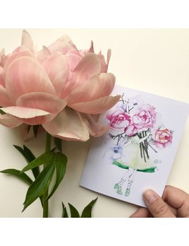 Katrinn Pelletier Illustration Peonies and Magnolias Florist Greeting Card