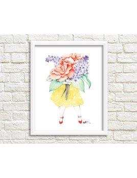 Katrinn Pelletier Illustration Affiche Femme Fleuriste Lilas et Roses