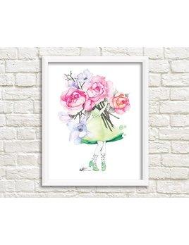 Katrinn Pelletier Illustration Affiche Femme Fleuriste Pivoine et Magnolia