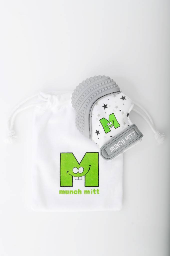 Munch Mitt Grey Star Teething Mitten