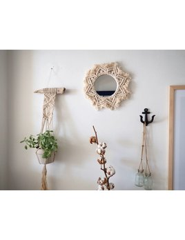Moussey Round Macrame Star Mirror