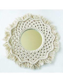 Moussey Round Macrame Flower Mirror
