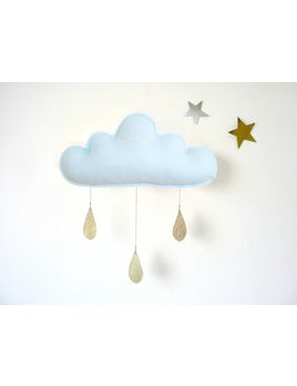 The Butter Flying Light Blue Cloud Mobile