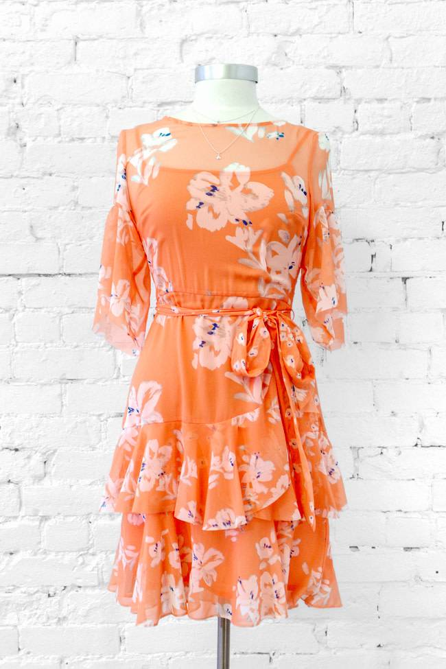 French Connection Floral Ruffle Dress