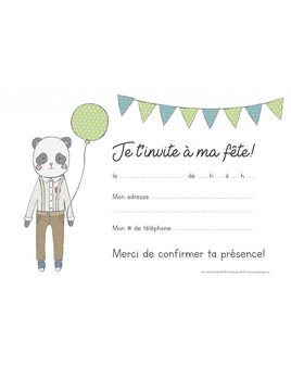 Ensemble Cartons d'Invitation Panda