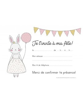 Ensemble Cartons d'Invitation Lapin