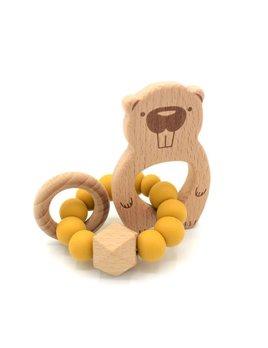 Pois et Moi Mustard Edmond the Beaver Rattle