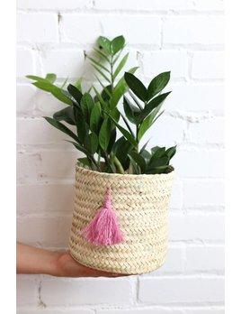 Pink Tassel Basket
