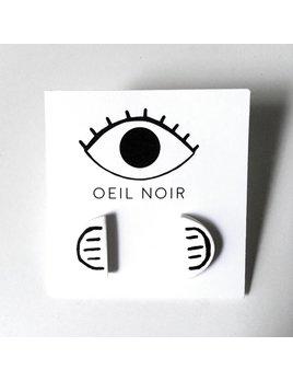 Oeil Noir Boucles D'Oreilles Demi-Cercle