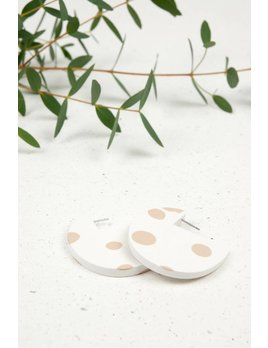 Oeil Noir Beige Circular Earrings