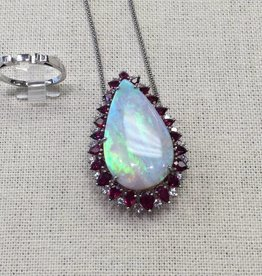 14Kt Opal, Diamond & Ruby Pendant w/ Ring conversion