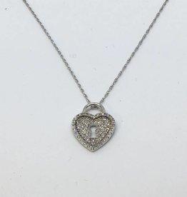 14Kt Heart Lock Pendant