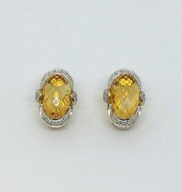 14Kt Oval Citrine & Diamond Earrings