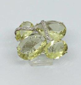 18Kt Citrine & Diamond Cluster Ring