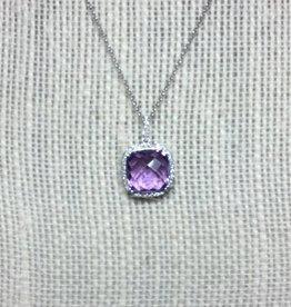 14kt WG Amethyst Diamond Pendant