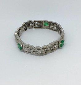 C 18Kt Art Deco Emerald & Diamond Bracelet
