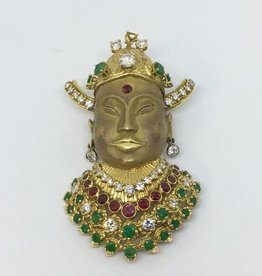 18Kt Kuan-Yin w/Diamonds, Rubys & Emeralds