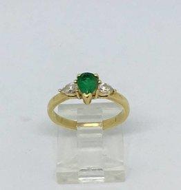 C 14Kt 3 Stone Emerald & Diamond Ring