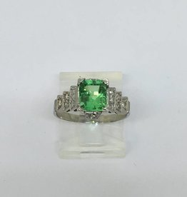 Platinum Brazilian Emerald & Diamond Ring