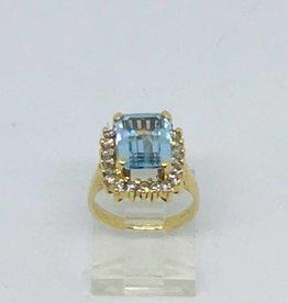 C 14Kt Aqua & Diamond Ring