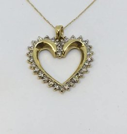 C 10Kt Diamond Heart Pendant