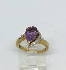14Kt Amethyst & Diamond Ring