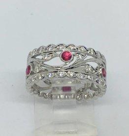 18kt wg 1/4ctw Diamond & Ruby Band