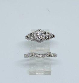C Platinum .90ct SI2 H Diamond Wedding Set