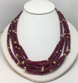 14kt Ruby Bead Necklace