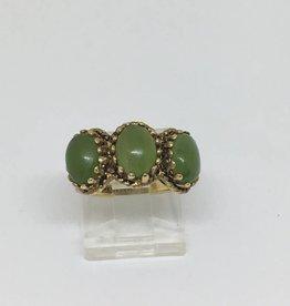 14kt 3 Stone Jade Ring