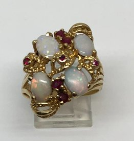14kt Opal and Ruby Ring