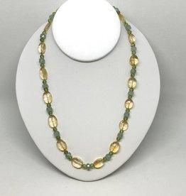 14kt Citrine , Peridot and Aquamarine Necklace