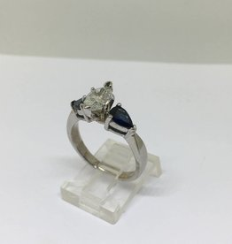 14kt 1ct Marquise and Sapphire Engagement Ring