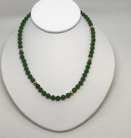 Jade and 14kt Beaded Necklace