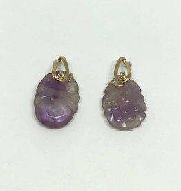 14kt Carved Lavender Jade Earrings