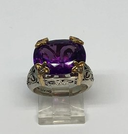 .925 and 14kt Amethyst and Diamond Ring