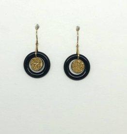 14kt Onyx & Gold Fleck Earrings