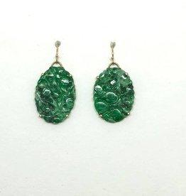 14kt Carved Jade Earrings