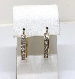 C 14kt YG Approx 1ct Diamond Hoop Earrings