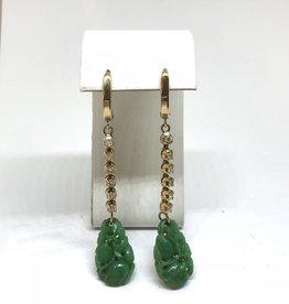 C 14kt Carved Jade & Diamond Earrings