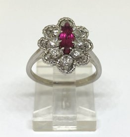 14kt Ruby Marquise & Diamond Ring