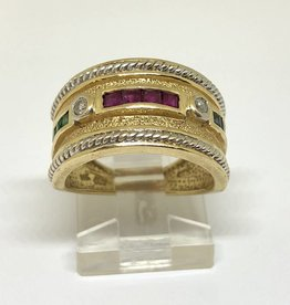 14kt Dia, Ruby, Emerald & Sapphire Ring