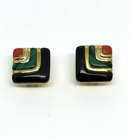 C 14kt Onyx, Malachite and Coral Earrings