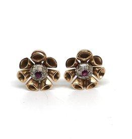 C 14kt Diamond and Ruby Earrings