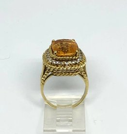 14kt Citrine and Diamond Ring