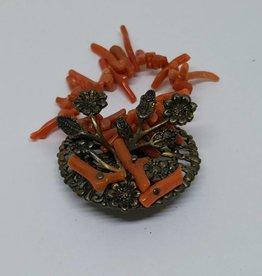 Gold Filled Coral Floral Basket