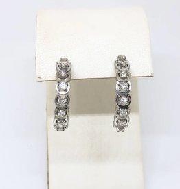 14kt WG Half Hoop .85tcw Diamond Earrings