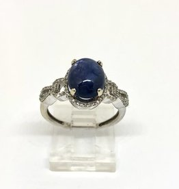14kt wg Sapphire Cabochon Ring