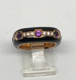 18kt Enamel, Amethyst and Diamond Ring